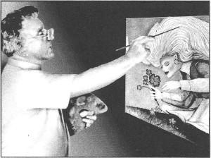 122. John painting 'Girl Picking Flowers'